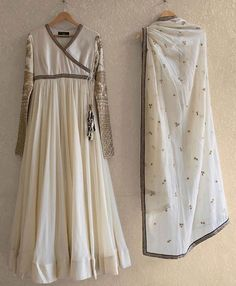 Off white embroidered mayur anarkali in silk with dupatta and chudidar White Anarkali, Anarkali Dress, Pakistani Dresses, Indian Dresses, Lehenga Gown, Cute Simple Outfits, Simple Dresses, Long Dresses, Maxi Dresses