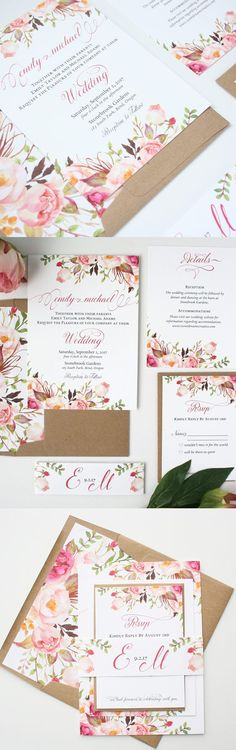 Floral Wedding Invitations - Blush Pink - Wedding Invitations - Rustic Romance Script Collection Sample Set - Love these blush pink and olive invitations for a rustic wedding! Spring Wedding Invitations, Rustic Invitations, Wedding Invitation Wording, Wedding Stationery, Diy Wedding, Rustic Wedding, Trendy Wedding, Wedding Ideas, Wedding Cards