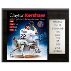 C and I Collectables MLB 15W x 12H in. Clayton Kershaw 2014 MVP Los Angeles Dodgers Player Plaque - 1215KERSHMVP