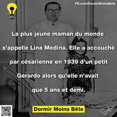 La plus jeune maman du monde s'appelle Lina Medina. Elle a accouché par césarienne en 1939 d'un petit Gerardo alors qu'elle n'avait que 5 ans et demi.