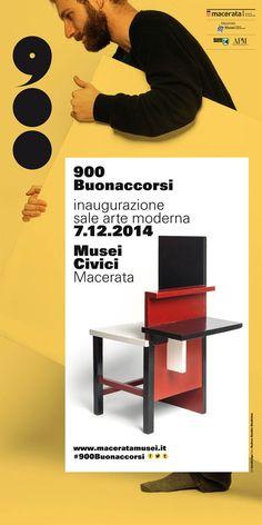 Facciata totem della campagna #900Buonaccorsi a cura di ma:design per l'apertura delle Sale #Arte Moderna di #PalazzoBuonaccorsi, il 7 dicembre 2014 a #Macerata.