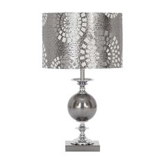 @Overstock - Steel Grey Metal and Glass Table Lamp - This well-balanced multipurpose lamp can also be used as buffet lamp. It is finished in polished chrome with a steel grey patterned shade.  http://www.overstock.com/Home-Garden/Steel-Grey-Metal-and-Glass-Table-Lamp/8636374/product.html?CID=214117 $81.99