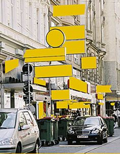 """DELETE! - DELETTERING THE PUBLIC SPACE"" - excellent installation in Vienna. all advertising signs were replaced by yellow signs"