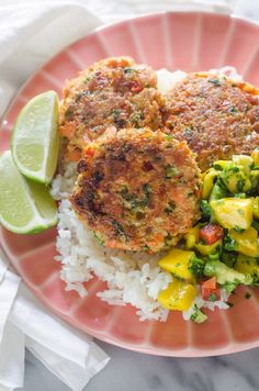 Salmon Cakes with Mango Salsa - - Pan-fried salmon patties with fresh mango salsa. From Erica Kastner of Buttered Side Up. Fried Salmon Patties, Pan Fried Salmon, Fried Pork, Baked Salmon, Salmon Burgers, Grilled Salmon, The Pioneer Woman, Pioneer Woman Salmon, Pioneer Woman Recipes