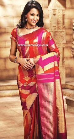 trisha in pink pothys samudhrika pattu designer saree