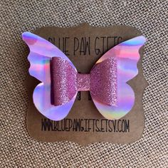 Best 12 Excited to share the latest addition to my shop: Butterfly Bow, Pink Holographic, Birthday Bow, Holographic Bow Handmade Hair Bows, Diy Hair Bows, Diy Bow, Bow Hair Clips, Rainbow Bow, Bow Template, Custom Bows, Making Hair Bows, Girls Bows