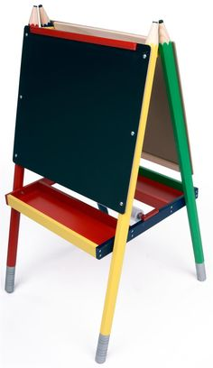 Childrens Easel With Black Chalkboard, White Marker Board, 2 Sided, 2  Storage Trays