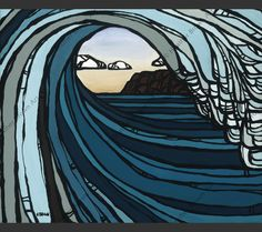 Matted print of Barrel View by surf artist Heather Brown
