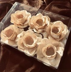 Champagne Rose Truffle Holder; Chocolate Wrapper Flower - Box of 6 Roses