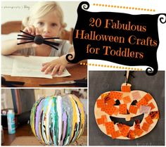 Halloween Crafts for Toddlers. Each picture has a link to site describing...