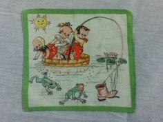 Vintage Hankie Hankerchief Children Nursery  Rhyme  Hanky  Fishing Frogs  #Novelty