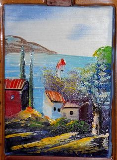 "Oil painting 5x7"" - Artist UNKNOWN - [cliff village over looking a coastline] - [50-Cent] #Yard_sale_Find"