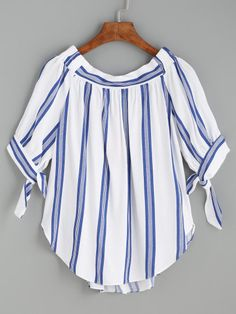SheIn offers Blue Vertical Striped Tie Sleeve Curved Hem Blouse & more to fit your fashionable needs. Blouse Online, Simple Dresses, Blue Tops, Blouse Designs, Fashion Outfits, Fashion Styles, Women's Fashion, Sleeves, Clothes