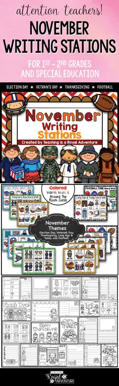 This multi-page November Writing Stations packet is the perfect addition to your Daily 5 stations. The themes included are: Election Day, Veteran's Day, Thanksgiving, Long Ago & Today, and Football. These writing station ideas are perfect for ESL, homeschool, special education, preschool, kindergarten, first grade, second grade and third grade. Click to download now. #firstgrade #secondgrade #kindergartenteacher #earlylearning #homeschool #specialeducation