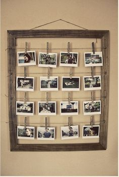 frame & string with photos & clothes line clips