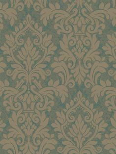 For a dramatic effect, this damask wallpaper from the book Graystone Estate is printed on top of a smaller damask pattern. See the whole collection at AmericanBlinds.com