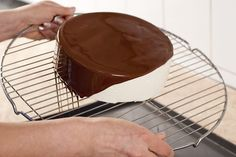 Cover cake with chocolate icing