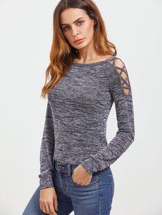 Crisscross Open Shoulder Space Dye T-shirt -SheIn(Sheinside)