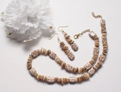 Mother of Pearl Shells and Ceramic Beads Necklace by StringOfLuck, $20.00