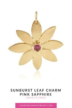 Our Sunburst Leaf Charm with Pink Sapphire gemstone in the center is a unique charm that you can hang from one of our chains :) Yellow Gold Pink Sapphire gemstones Length and width are Polished or Brushed Finish LS Collection Sapphire Pendant, Sapphire Gemstone, Pink Sapphire, Jewelry Collection, Charmed, Jewels, Gemstones, Chain, Unique