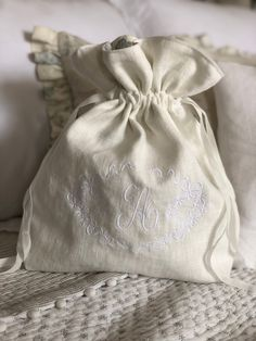 Peony Linen Bag, Velvet Ribbon, Handmade Design, Peony, Embroidery, Sewing, Blue, Needlepoint, Dressmaking