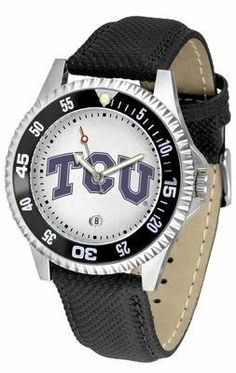 Texas Christian Horned Frogs TCU NCAA Mens Leather Wrist Watch SunTime. $68.95. Adjustable Band. Men. Poly/Leather Band. Officially Licensed TCU Horned Frogs Men's Leather Sports Watch. Date Calendar And Rotating Bezel