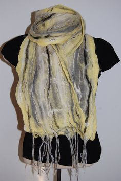 Women's Scarves Nuno Felted Scarf Wool by LocallySewnTextiles