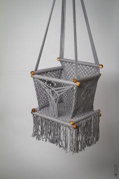Baby Swing Chair 14 in Macrame. by HangAHammock Hanging Crib, Macrame Chairs, Eames Chairs, Ikea Chairs, Room Chairs, Upholstered Chairs, Baby Swings, Swinging Chair, Diy Chair