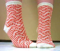 This makes a great summer sock. The stitch pattern is mosaic, so it makes the socks interesting without adding the thickness of stranded knitting. Plus the yarn is nice and cool, but retains its shape and stitch definition no matter how hot it gets.