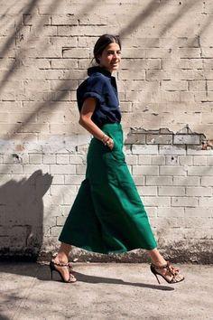 green wide-leg culotte style inspiration