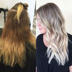 """My client came in with about 4 inches of regrowth and undesired brass/orange tones from previous permanent color,"" says Marissa Madsen (@hairbymarissasue) a master stylist and blonde specialist at Habit Salon (@habitsalon), Gilbert, Arizona. ""I wanted to keep her grow out easy and take her to a cooler tonality all over, as I felt it would be better with her skin tone."" Here she shares the HOW TO in her own words:"