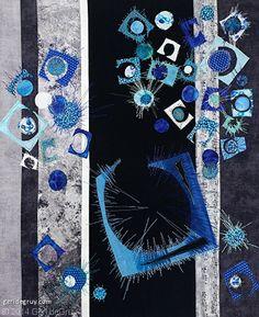 "Alone in a Crowd, ~ 20 "" x 16.75"", by Geri deGruy Fiber Art | art quilt"