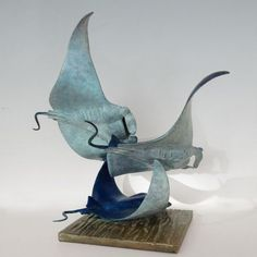 Foundry Cast Bronze #sculpture by #sculptor Nicolas Pain titled: 'Manta Rays (Small, Little Bronze school Fish sculptures/statuettes)'. #NicolasPain