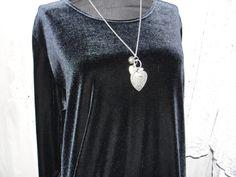 Vintage dress black velvet feel by SummersBreeze on Etsy, $18.00