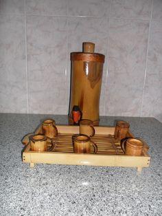 Arte com Bambu: Kit cachaça. Barril,Bandeja e Canecas de Bambu.