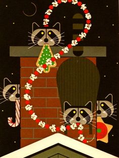 "Christmas Raccoons from ""The Christmas Caper"" by Charley Harper"