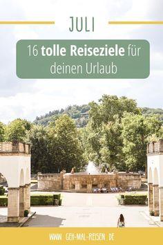Wir haben für dich 16 tolle Reiseziele, die du im Juli besuchen kannst. Deutschland, Europa, Fernreise – hier findet jeder etwas. Sommer   Günstig   Geheimtipp #gehmalreisen