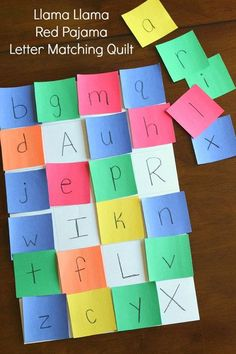 Alphabet activity to go with the book Llama Llama Red Pajama. A letter matching quilt to practice letter recognition.