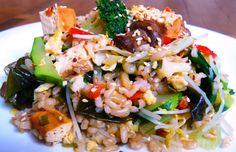 arroz integral pollo vegetales