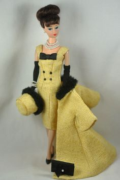 Handmade Vintage Barbie/Silkstone Fashion by P.Linden Yellow & Blk 9pc Ensemble #FITSVINTAGEREPRODUCTIONSANDSILKSTONEBARBIE