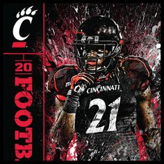 Bearcats football poster Football Senior Photos, Football Art, Football Pictures, Football Posters, Sports Posters, College Football, Sports Images, Sports Photos, Sports Signs