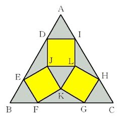 Problem from Ten'nenji Temple. ABC is a regular triangle, and three congruent squares touch ABC triangle internally. And the three congruent squares touch at J, K and L , as shown. If the side of the triangle is a, the side of the square is x , find x in terms of a .