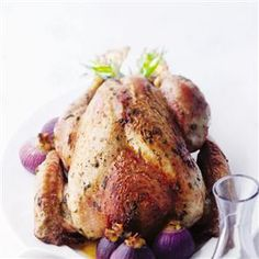 {Christmas} Roast tarragon and lemon turkey with stuffing-filled onions Thyme Recipes, Onion Recipes, Roasted Turkey, Roasted Chicken, Turkey Crown Recipe, Christmas Roast, Roast Turkey Recipes, Whole Turkey, Other Recipes