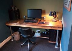 Handmade Rustic Industrial Scaffold Board Plank Computer Office Gaming Desk | eBay
