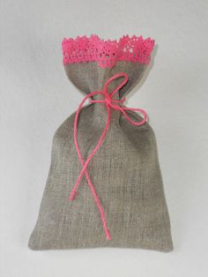 Wedding favor bags linen burlap and lace favor sachets gray and pink candy bar bags set of 30 via Etsy
