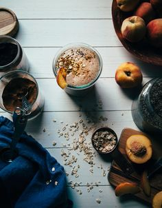 Peach Crumble Shake with Chia - The First Mess (vegan)