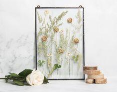 dried flowers Vintage frame unique floral gift. a decorative frame of pressed flowers hanging frame Margot