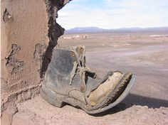 100 year old shoe found in an abandoned mine village in the Chilean desert.