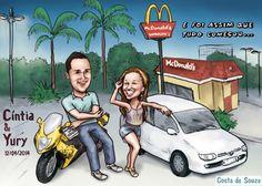 Caricatura de namorados feita sob encomenda, a partir de fotos e orientações do cliente. #caricature #couple #valentines