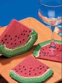 Watermelon Slice Coasters free pattern